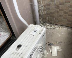 【大津市】エアコン取り外し処分とバルコニーの鳩のフンの掃除ご依頼
