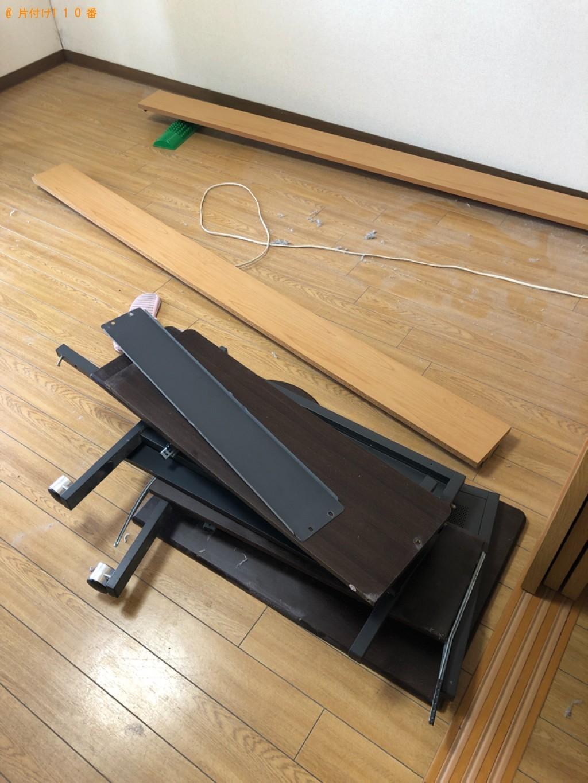 【栗東市】マットレス付きシングルベッド、PCデスクの回収・処分